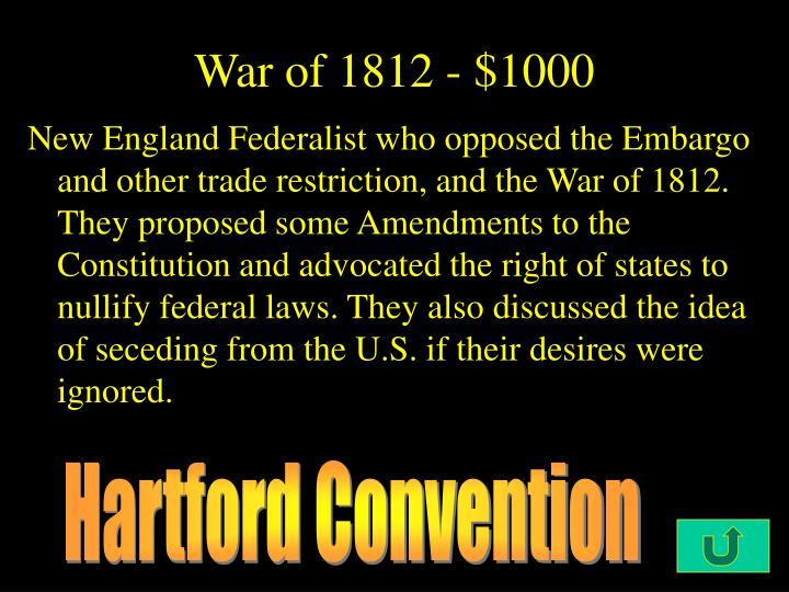 War of 1812 - $1000