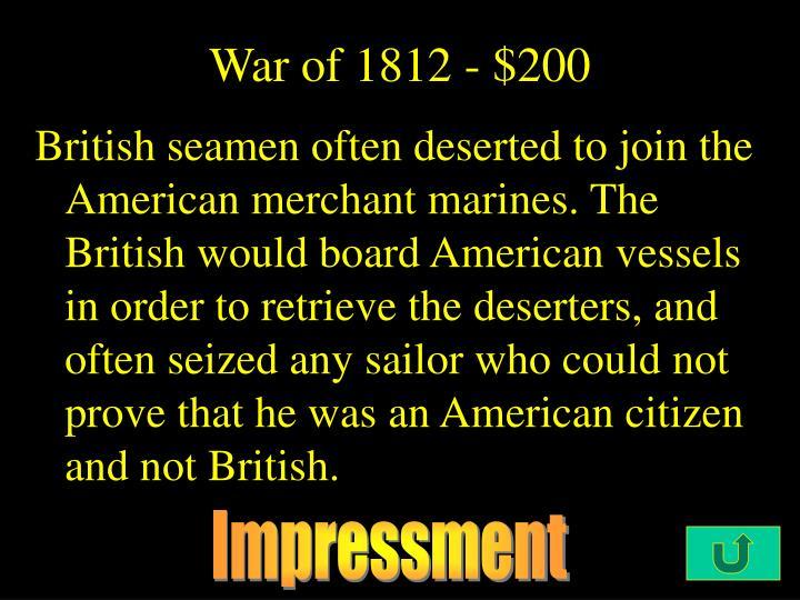 War of 1812 - $200