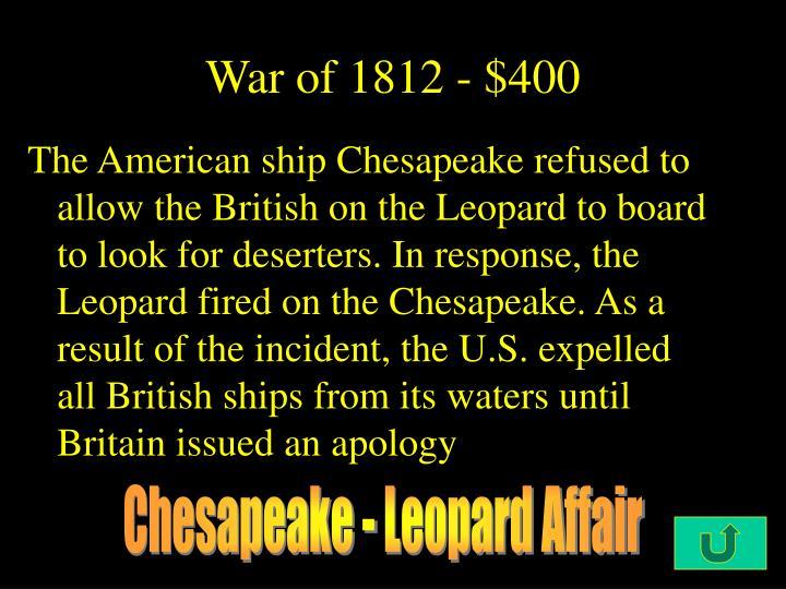 War of 1812 - $400