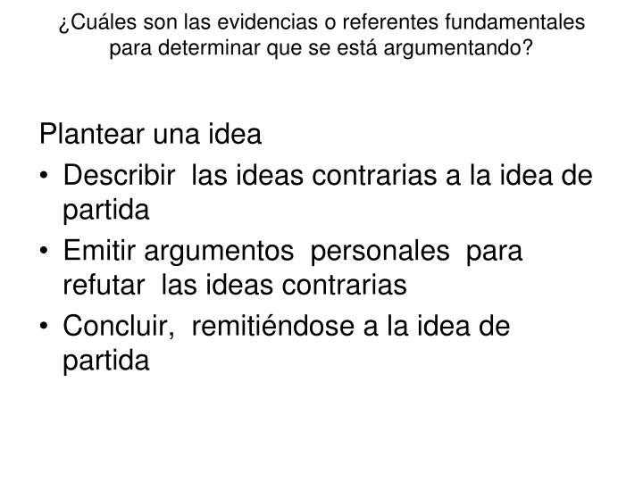 ¿Cuáles son las evidencias o referentes fundamentales   para determinar que se está argumentando?