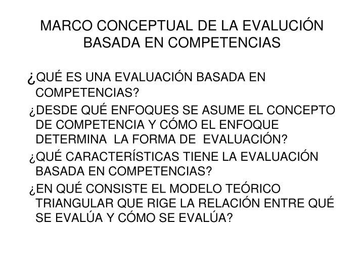 MARCO CONCEPTUAL DE LA EVALUCIÓN BASADA EN COMPETENCIAS