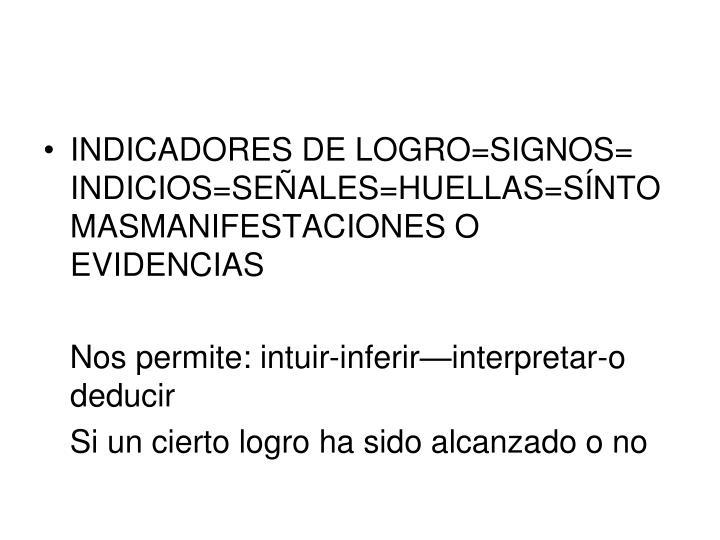 INDICADORES DE LOGRO=SIGNOS= INDICIOS=SEÑALES=HUELLAS=SÍNTOMASMANIFESTACIONES O EVIDENCIAS