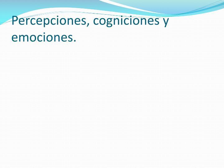 Percepciones, cogniciones y emociones.