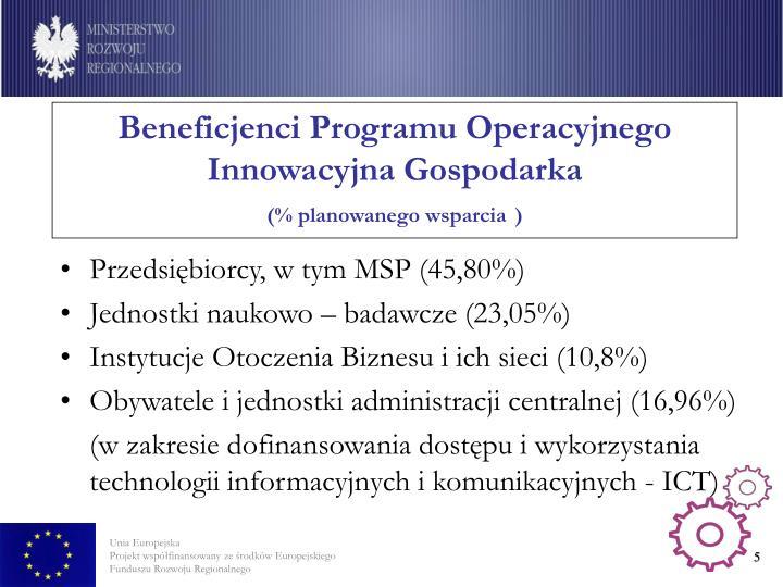 Beneficjenci Programu Operacyjnego Innowacyjna Gospodarka