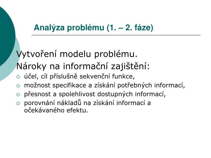 Analýza problému (1. – 2. fáze)