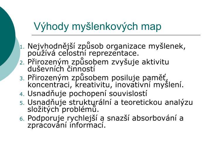 Výhody myšlenkových map