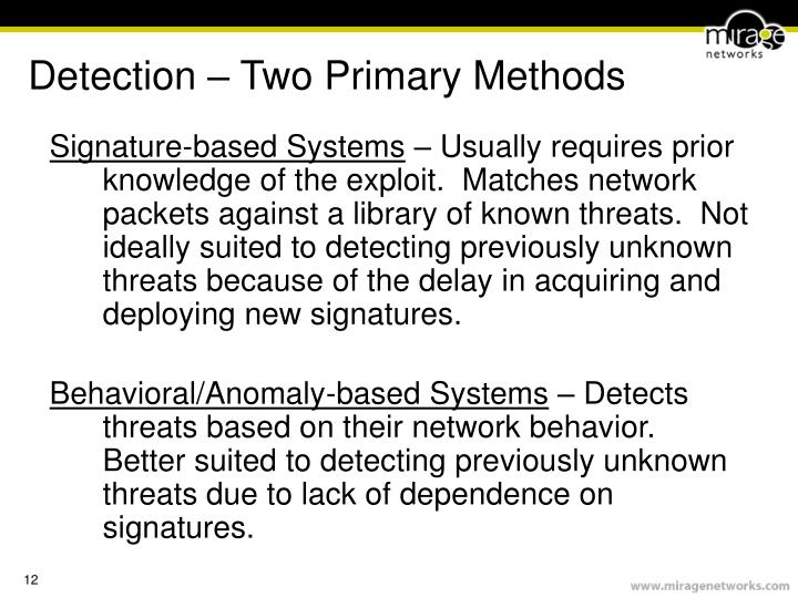Detection – Two Primary Methods