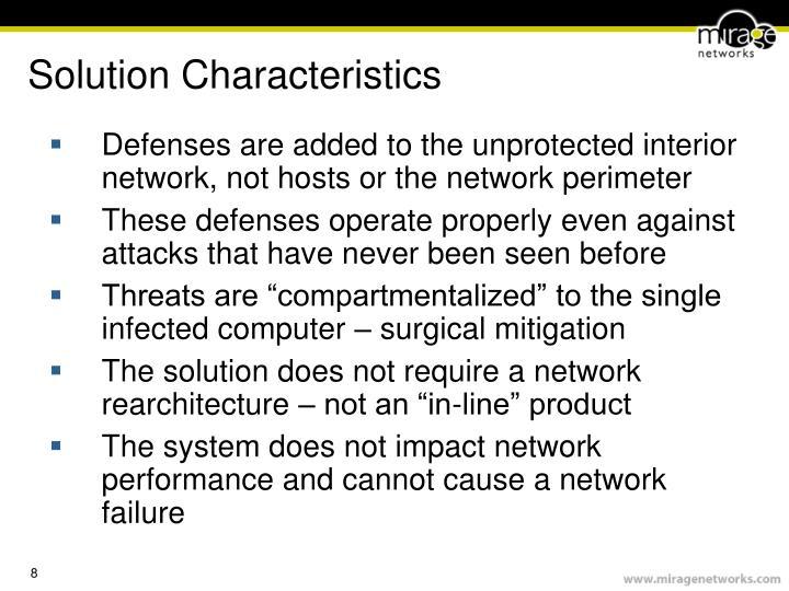 Solution Characteristics