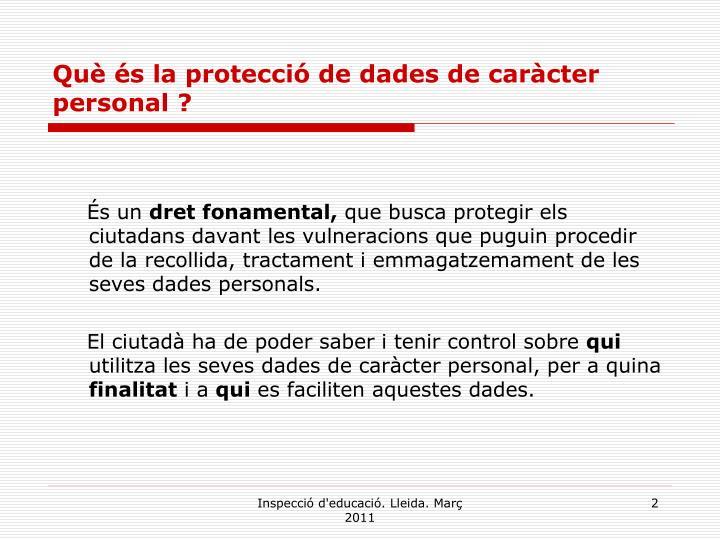 Què és la protecció de dades de caràcter personal ?