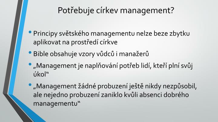 Pot ebuje c rkev management
