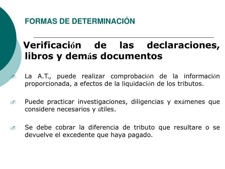FORMAS DE DETERMINACIÓN