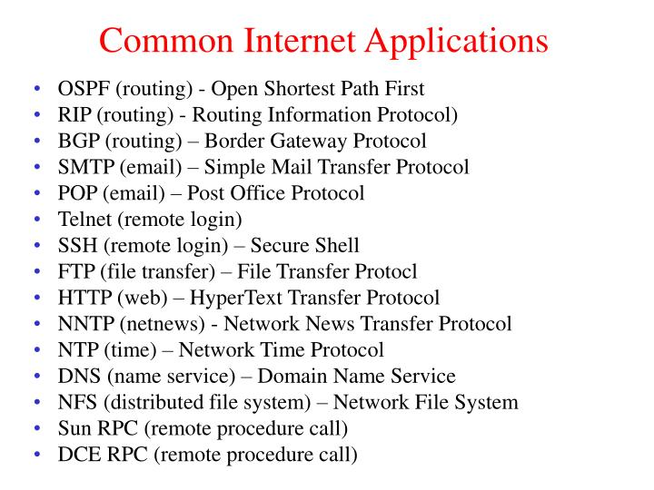 Common Internet Applications