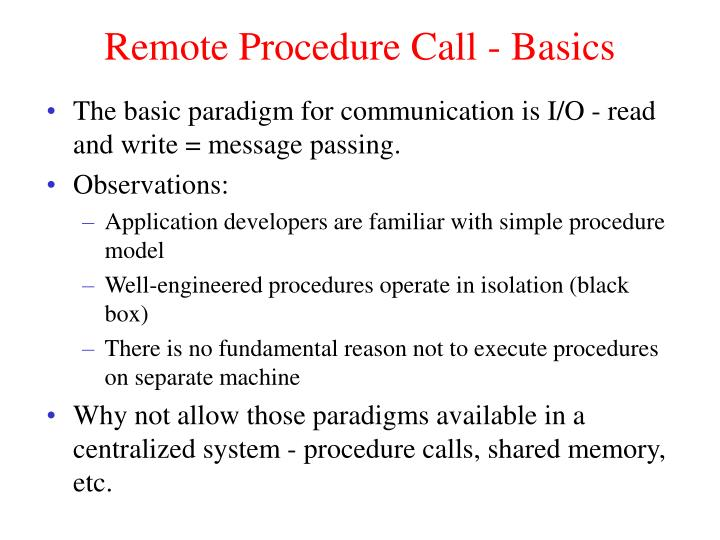 Remote Procedure Call - Basics