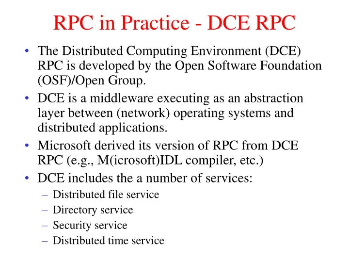 RPC in Practice - DCE RPC