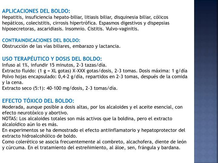 APLICACIONES DEL BOLDO: