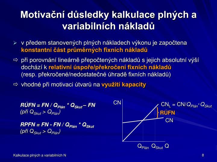 Motivační důsledky kalkulace plných a variabilních nákladů