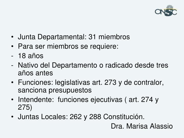 Junta Departamental: 31 miembros