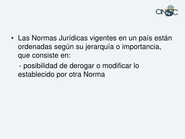 Las Normas Jurídicas vigentes en un país están ordenadas según su jerarquía o importancia, que consiste en:
