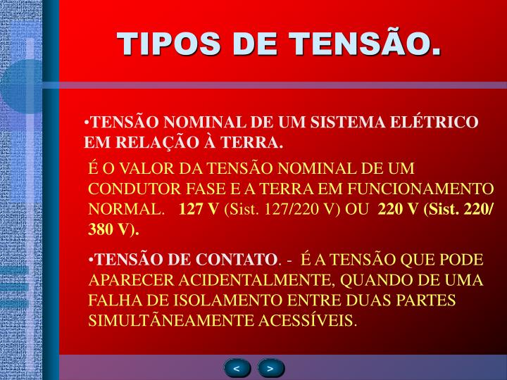 TIPOS DE TENSÃO.