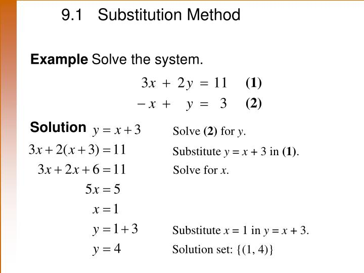 9.1 	Substitution Method