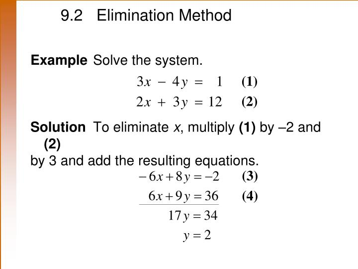 9.2 Elimination Method