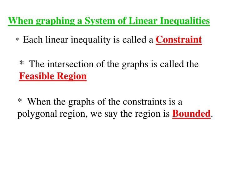 When graphing a System of Linear Inequalities