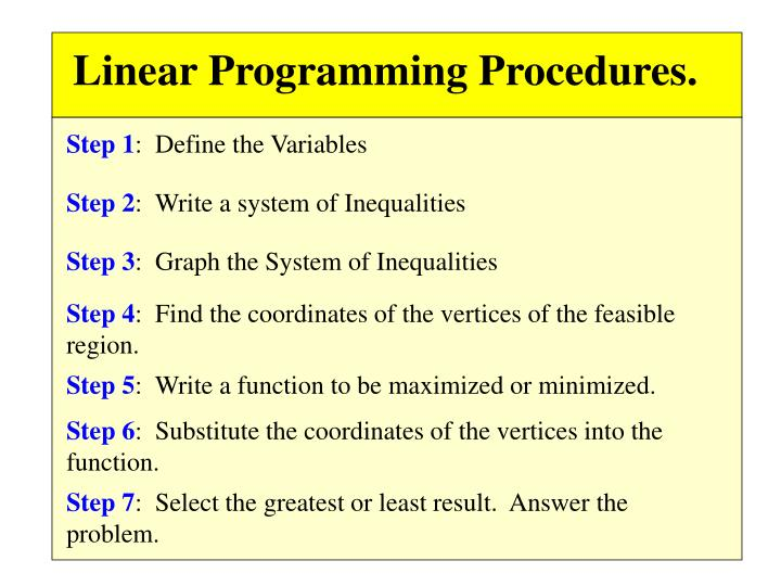 Linear Programming Procedures.
