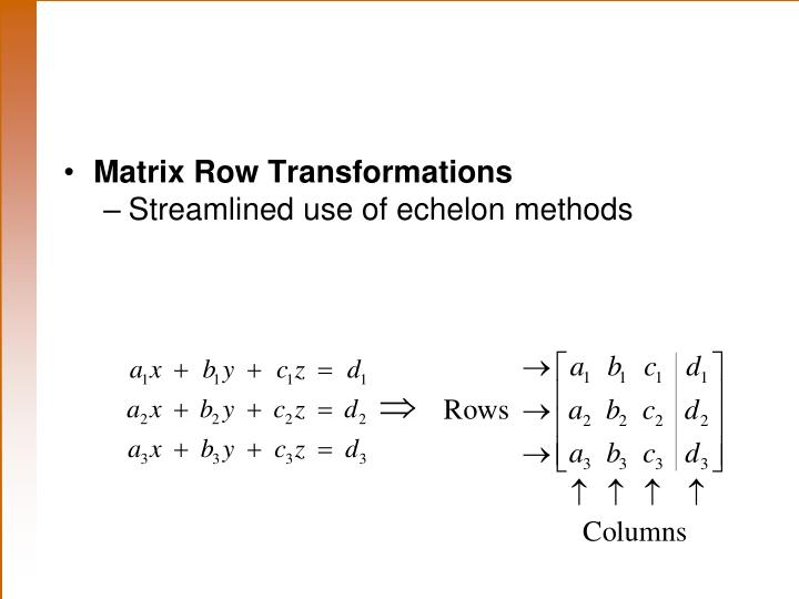 Matrix Row Transformations