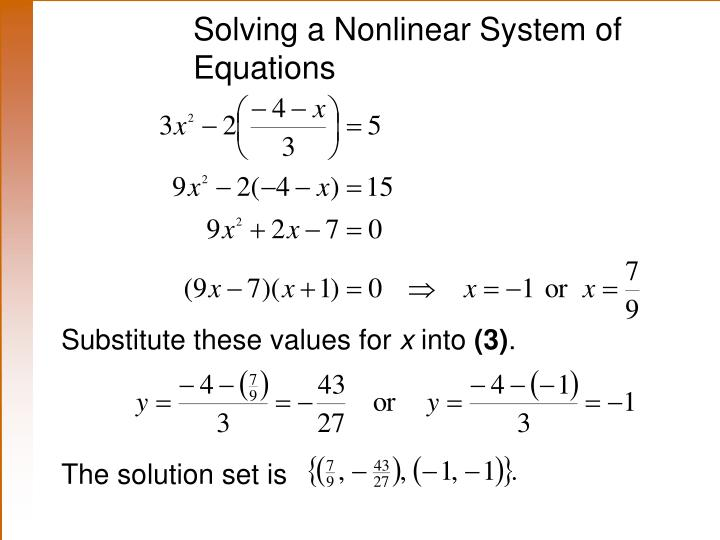 Solving a Nonlinear System of Equations