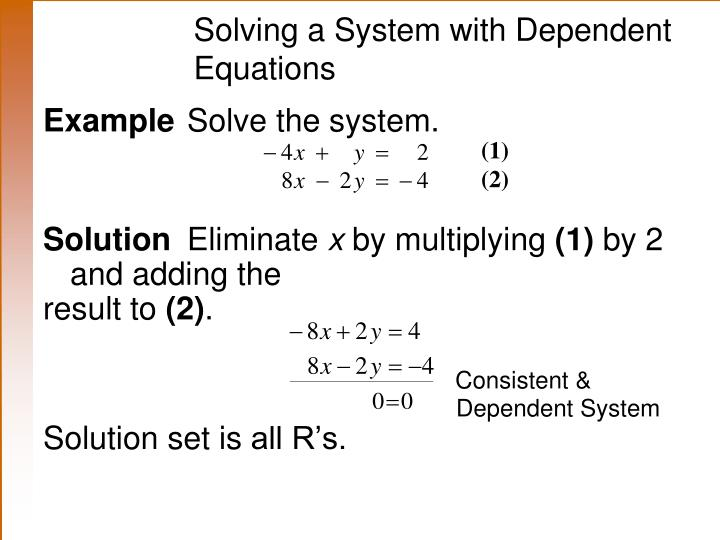 Solving a System with Dependent 	Equations
