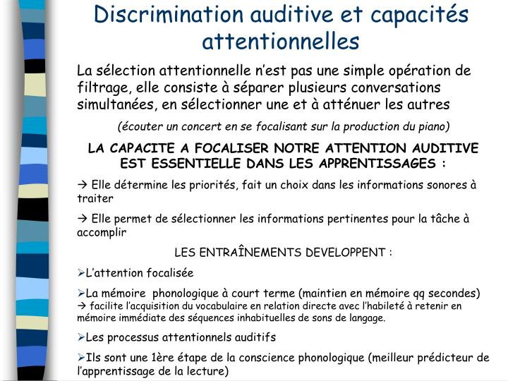 Discrimination auditive et capacits attentionnelles