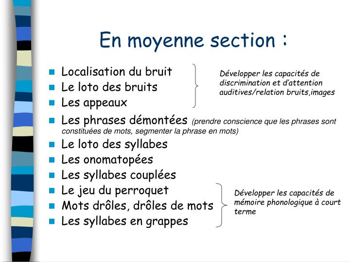 En moyenne section