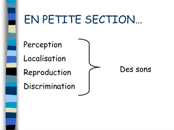 EN PETITE SECTION…