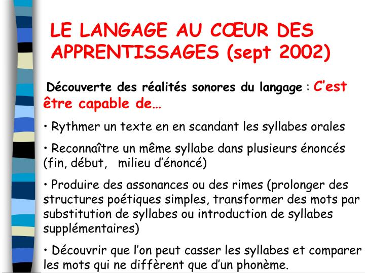 LE LANGAGE AU CUR DES APPRENTISSAGES (sept 2002)