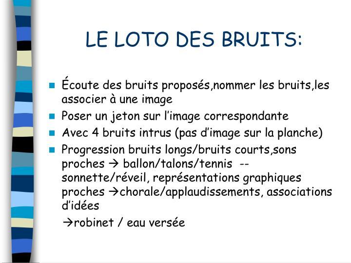 LE LOTO DES BRUITS:
