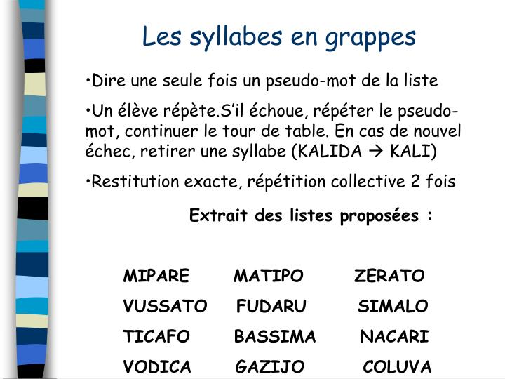Les syllabes en grappes