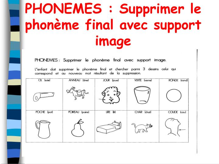 PHONEMES : Supprimer le phonme final avec support image