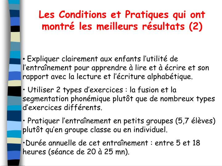 Les Conditions et Pratiques qui ont montr les meilleurs rsultats (2)