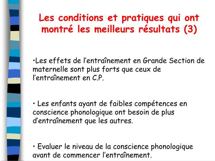 Les conditions et pratiques qui ont montr les meilleurs rsultats (3)