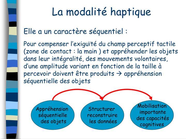 La modalité haptique