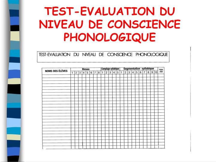 TEST-EVALUATION DU NIVEAU DE CONSCIENCE PHONOLOGIQUE
