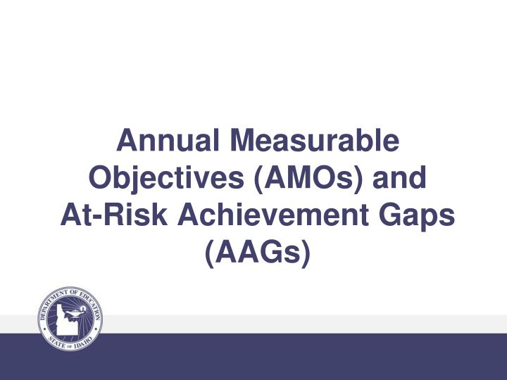 Annual Measurable Objectives (AMOs) and