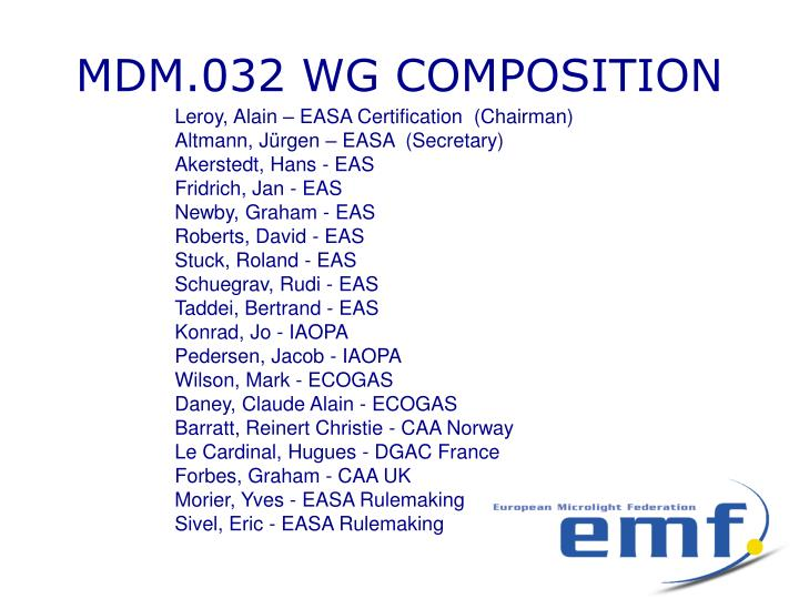 MDM.032 WG COMPOSITION