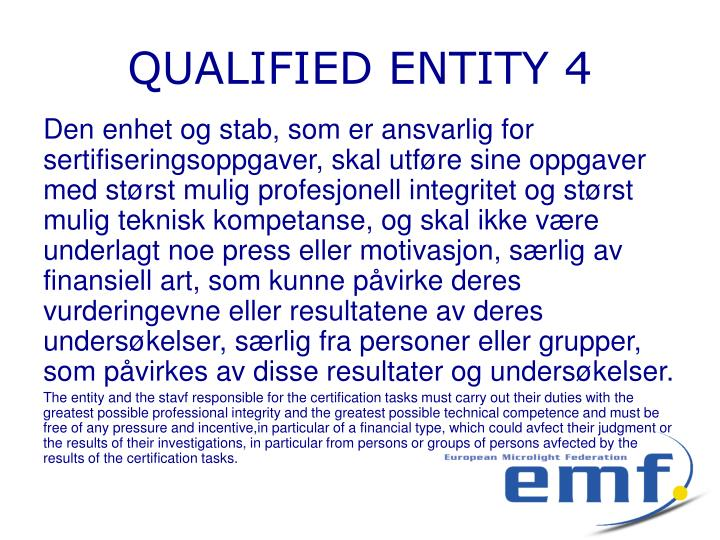 QUALIFIED ENTITY 4