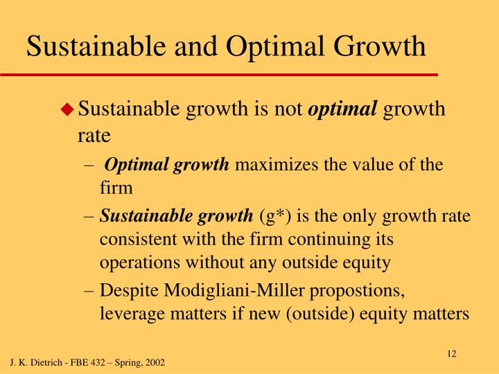 Sustainable and Optimal Growth