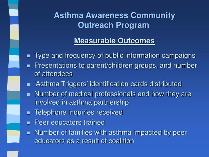 Asthma Awareness Community Outreach Program