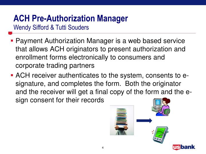 ACH Pre-Authorization Manager