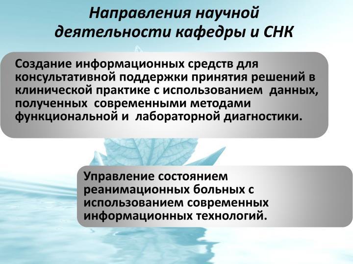 Направления научной деятельности кафедры и СНК