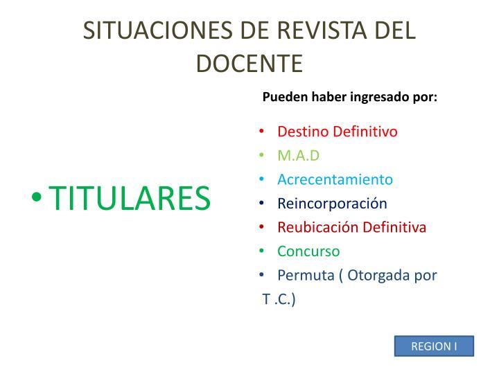 SITUACIONES DE REVISTA DEL DOCENTE