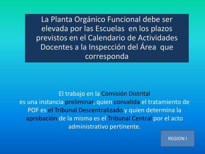 La Planta Orgánico Funcional debe ser elevada por las Escuelas  en los plazos previstos en el Calendario de Actividades Docentes a la Inspección del Área  que corresponda